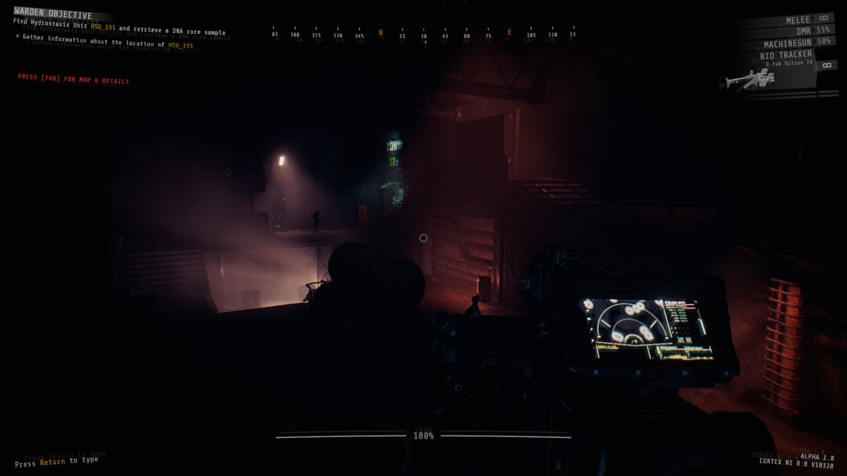A player with an Alien-style motion scanner pings a large room for movement in GTFO. It's dark and foggy.