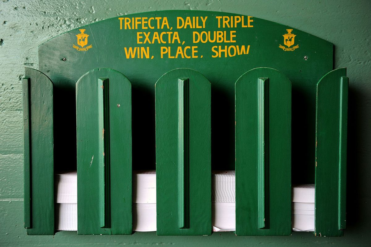 ARCADIA, CA - OCTOBER 20: A box holding betting cards is seen during the morning workout session before the 2008 Breeders' Cup at Santa Anita Park on October 20, 2008 in Arcadia, California (Photo by Harry How/Getty Images)