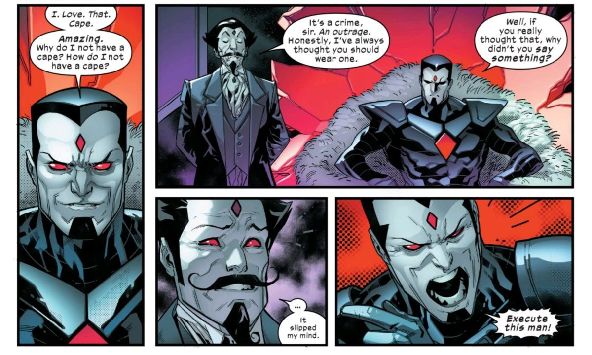 A capeless Mister Sinister orders the execution of a majordomo-type Mister Sinister, for failing to inform him that he should wear a cape, in Powers of X #4, Marvel Comics (2019).