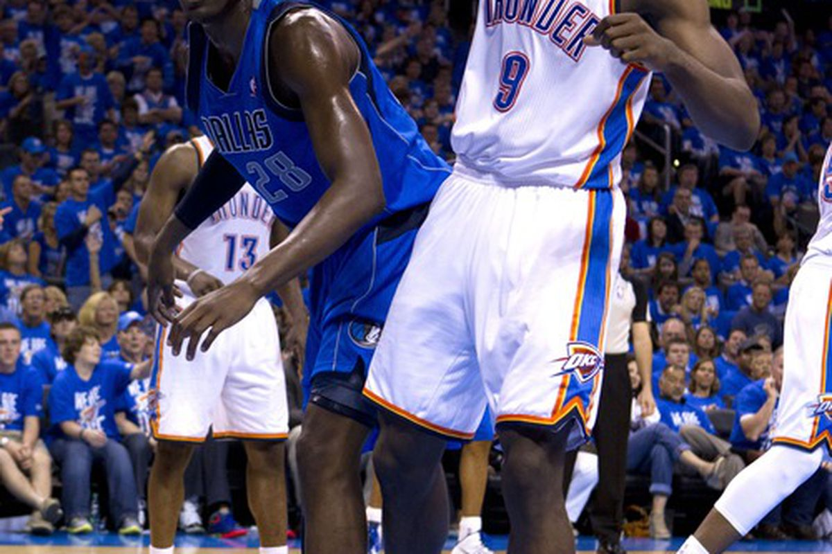 I'm sure Serge Ibaka said something really funny, but I couldn't understand it, since he probably said something really nasty to Ian Mahimni in French.
