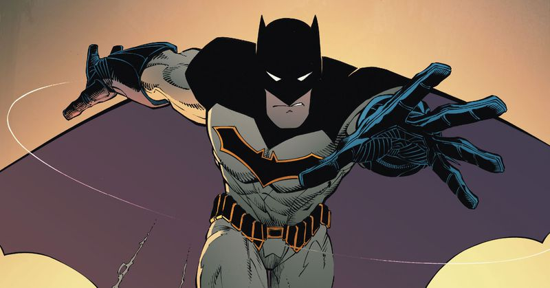 Batman leaps towards the viewer, in a black on grey costume. The inside of his cape is a desaturated purple, while his symbol and belt are black with bright yellow edging, in Batman #50, DC Comics (2016).