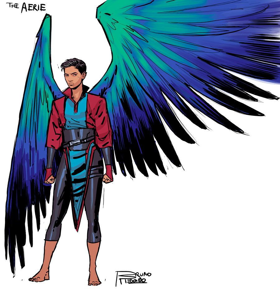 The Aerie is a short-haired person with turquoise, purple, and black wings, from DC Comics' 2019 Suicide Squad series.