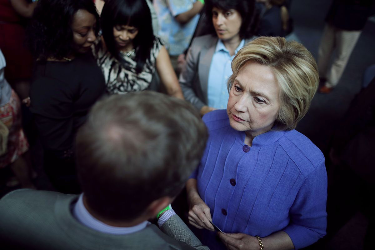 Democratic Presidential Candidate Hillary Clinton Holds National Security Discussion In Hampton, Virginia
