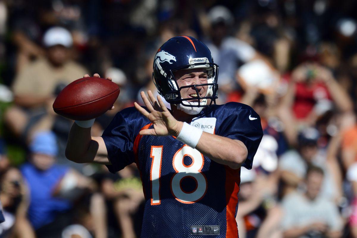 July 28, 2012; Englewood, CO, USA; Denver Broncos quarterback Peyton Manning (18) during training camp at the Broncos training facility. Mandatory Credit: Ron Chenoy-US PRESSWIRE
