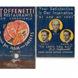 <b>Toffenetti Restaurant</b>: This massive Times Square-area restaurant opened in 1940 and closed in 1968. It was the NYC outpost of a small Chicago chain.  Its owner, Dario Toffenetti, was famous for his flamboyant menu descriptions (the spaghetti <a hre