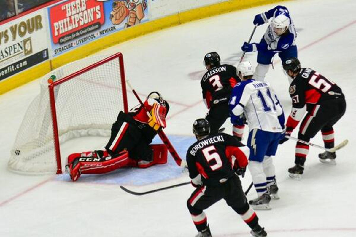 Crunch forward Cedric Paquette scores during the Crunch's game vs. Binghamton Friday night