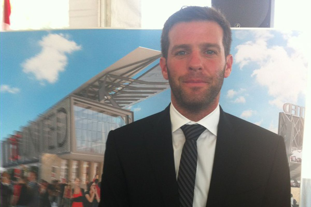 Ben Olsen at a stadium press event last summer