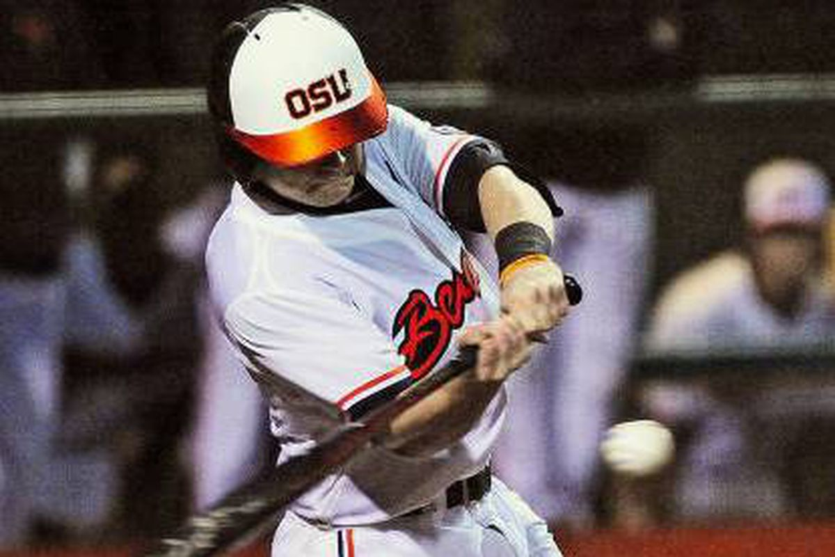 Oregon St.'s Kyle Nobach delivers the game winning 2 RBI double.