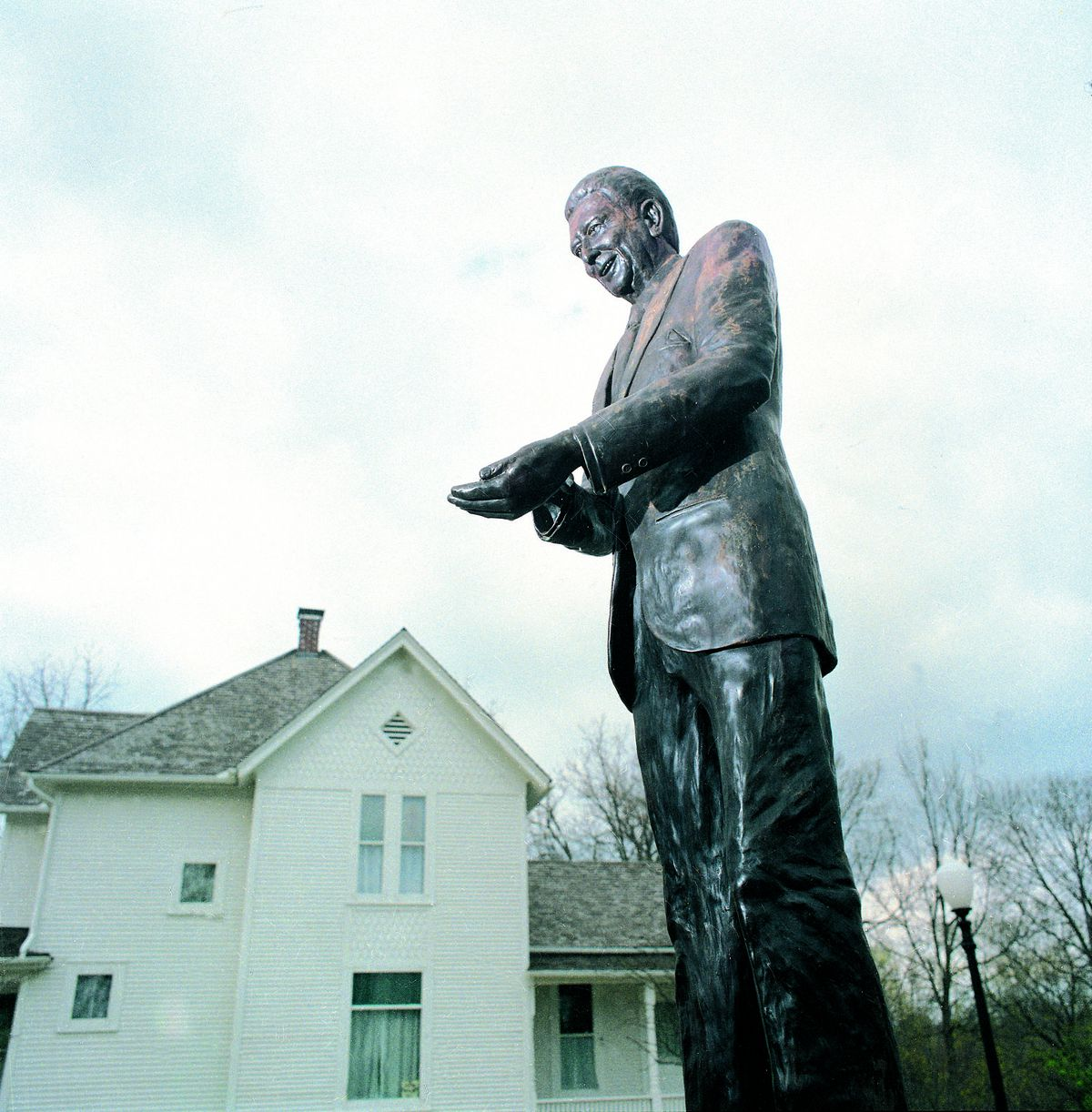A statue of Ronald Reagan stands outside his boyhood home in Dixon, Illinois.