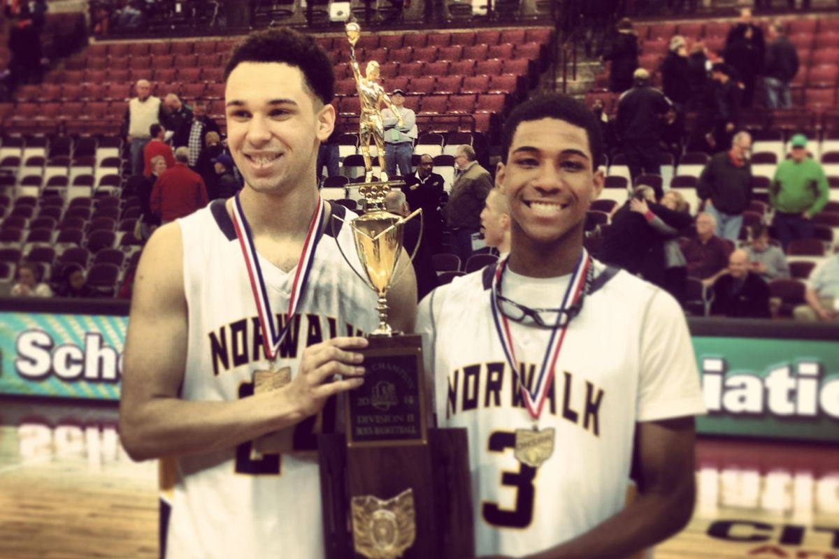 Norwalk seniors Jeff Thomas (left) and Ben Haraway (right) combined for 87 points in two state tournament wins in the Truckers' run to a Div. II title