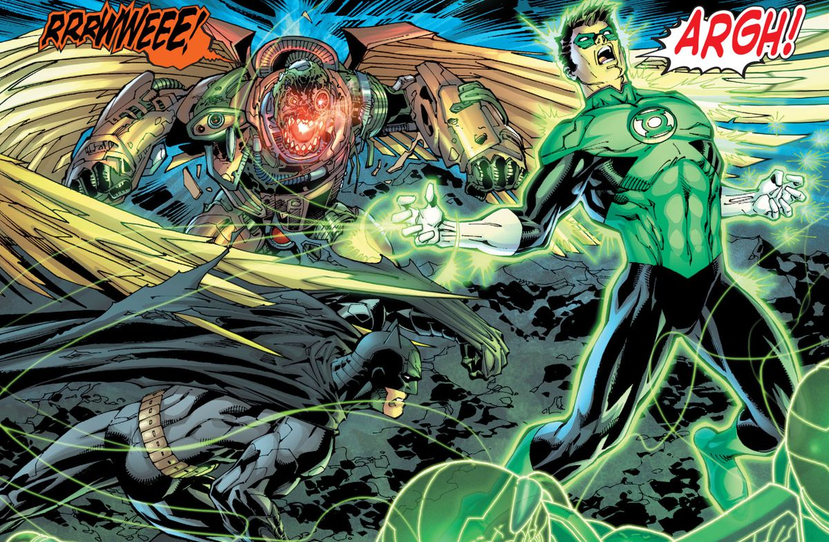 Hal Jordan/Green Lantern, cries out as a parademon strikes him from behind, and Batman raises an arm to shield himself in Justice League #1 (2011).