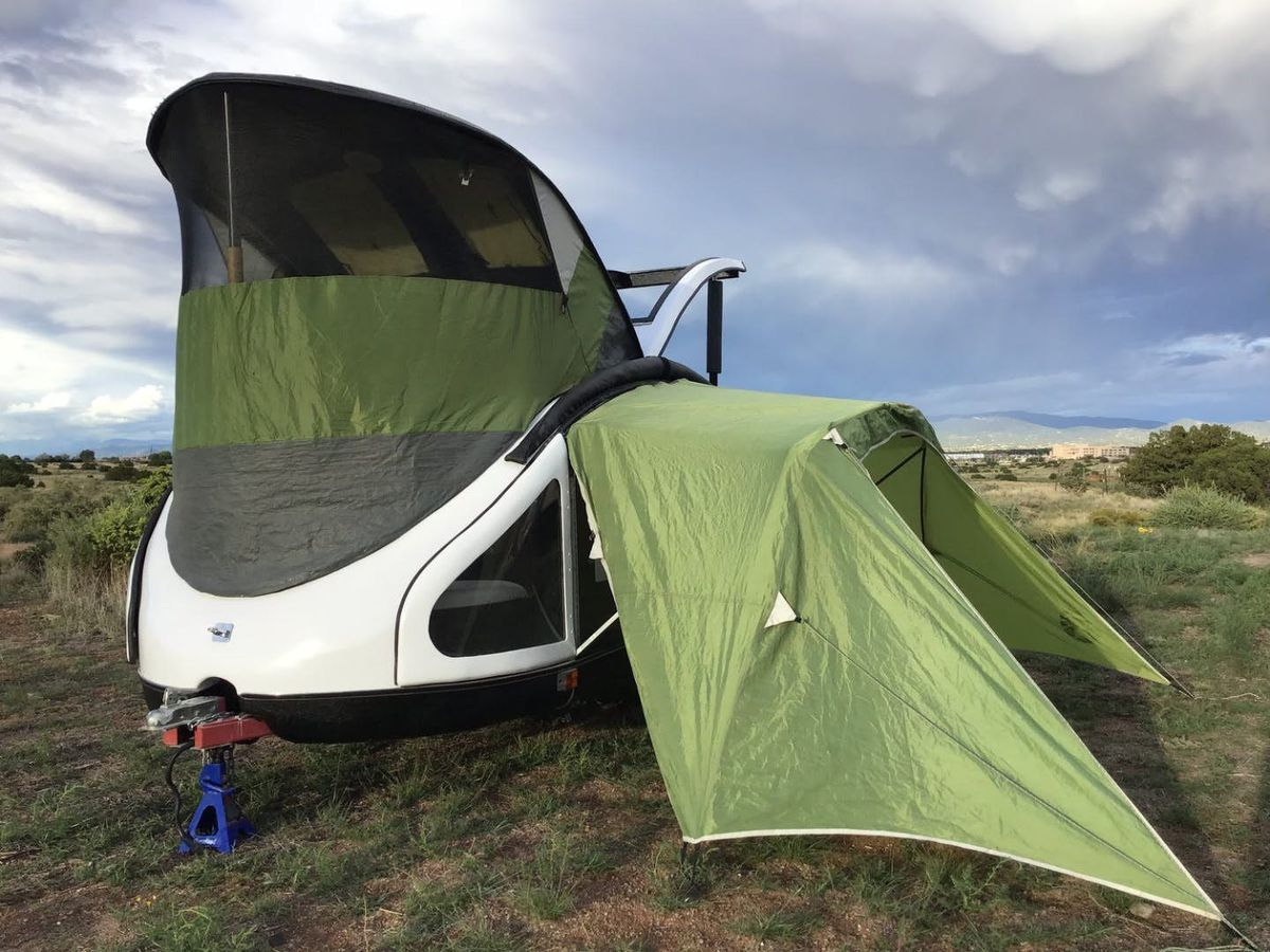 Best Lightweight Trailer with tents attached and mosquito nets up in full force