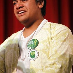Siaosi Heimuli becomes emotional during a ceremony honoring him as Granite School District's Absolutely Incredible Kid at Granite Park Junior High in Salt Lake City on Monday, May 23, 2016.