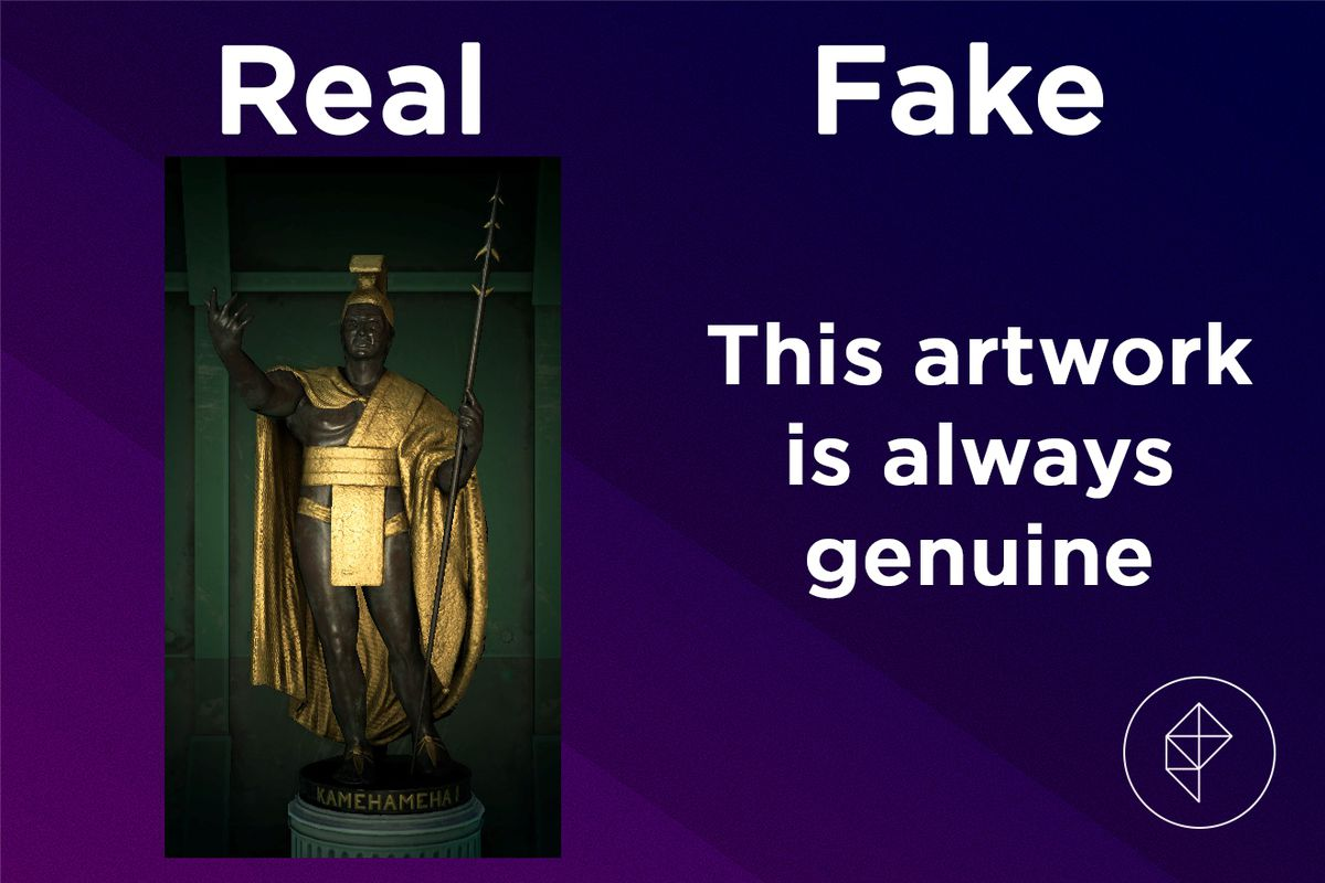 A graphic showing the Great Statue in Animal Crossing and confirming that it is always real