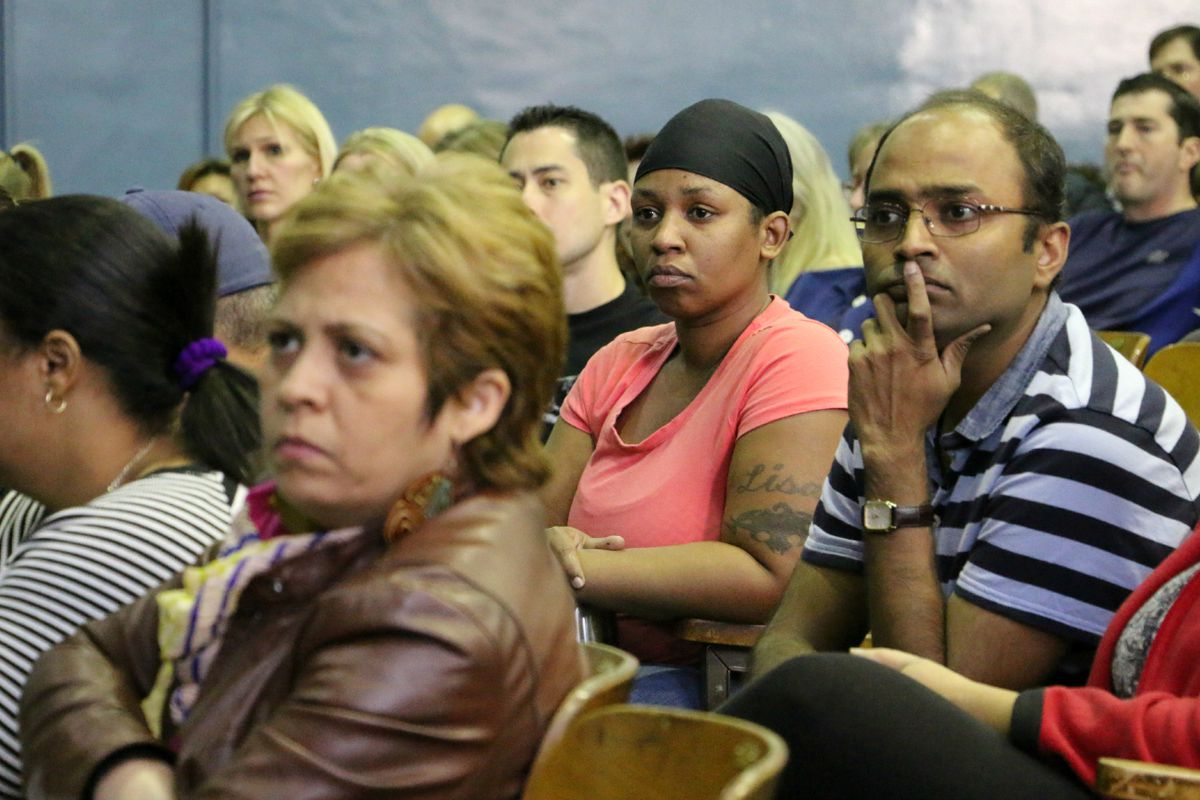 Parents and teachers attended a meeting Saturday at P.S. 191 about a proposed rezoning.