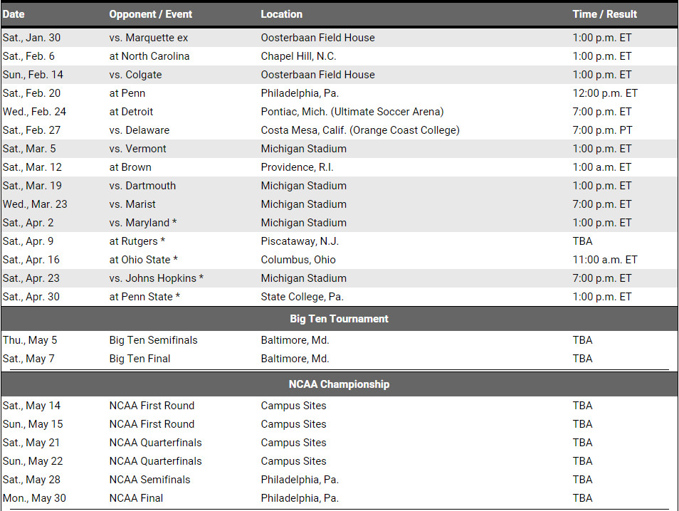 2016 Lacrosse Schedule