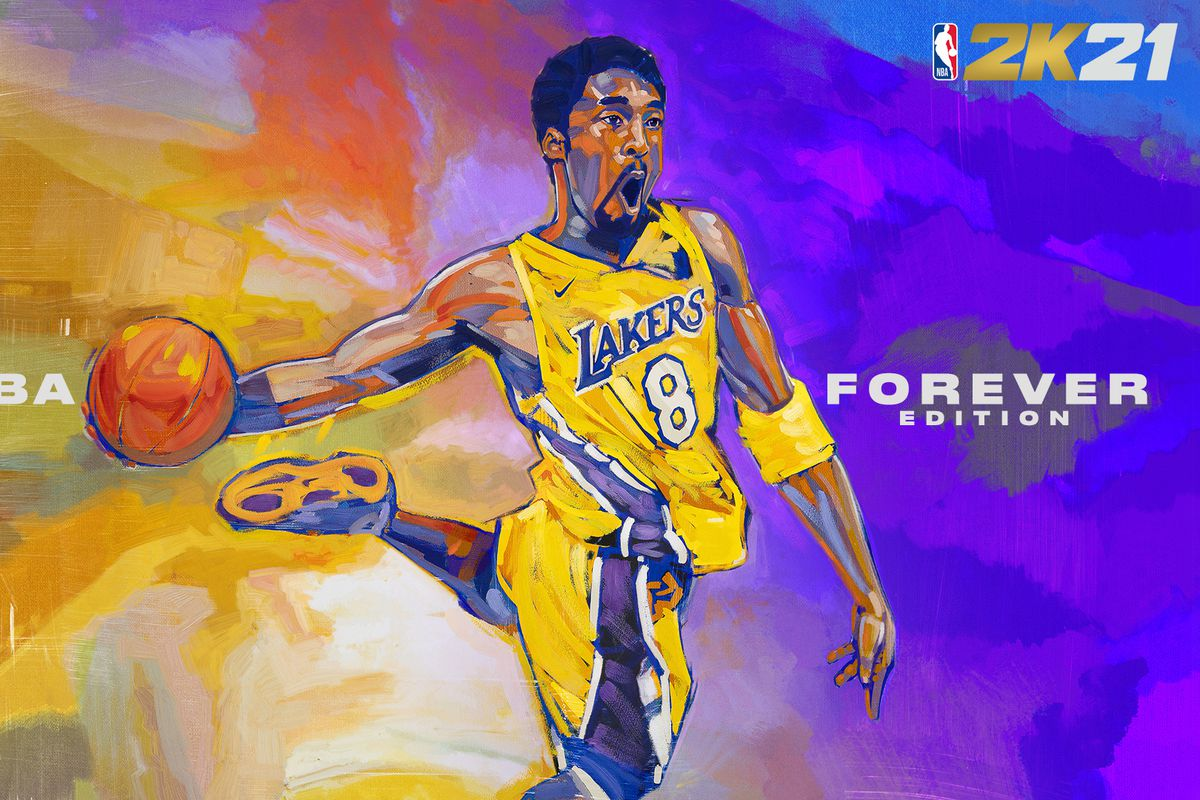 artwork of Kobe Bryant in his #8 Lakers Jersey going up for a dunk on the current-gen cover of the NBA 2K21 Mamba Forever Edition
