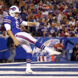 Aug 16, 2013; Orchard Park, NY, USA; Buffalo Bills punter Shawn Powell (6) kicks the ball against the Minnesota Vikings during the second half at Ralph Wilson Stadium. Bills beat the Vikings 20-16.