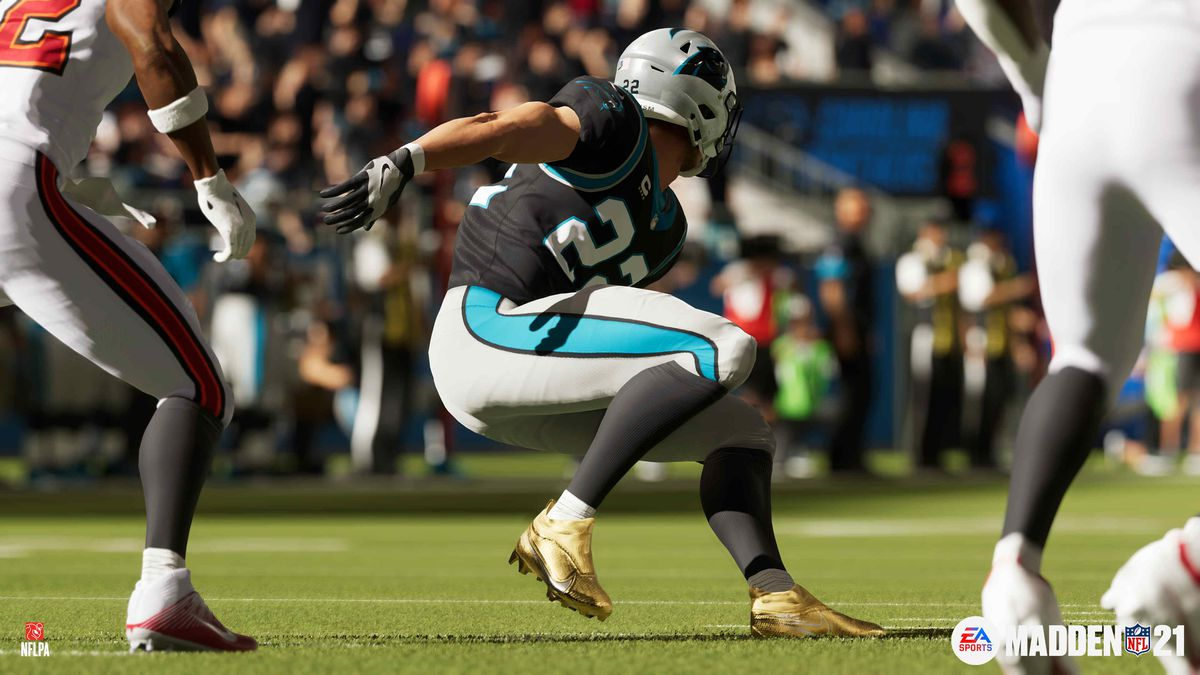 Carolina Panthers running back Christian McCaffrey in Madden NFL 21 on PS5/Xbox Series X