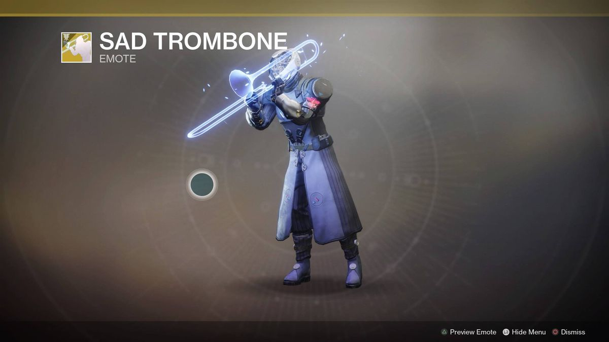 Destiny 2 character plays a glowing trombone