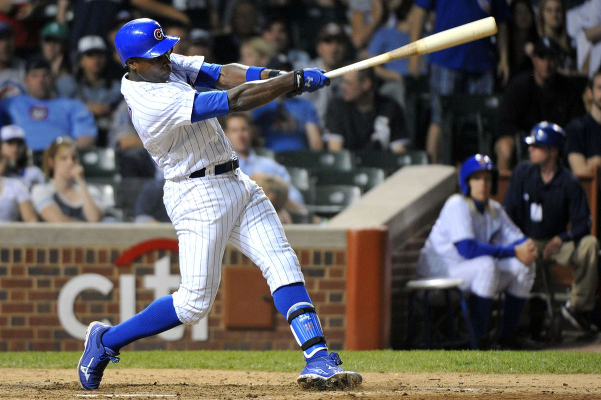 Chicago, IL, USA; Chicago Cubs left fielder Alfonso Soriano hits a two run home run against the Chicago White Sox at Wrigley Field. The White Sox beat the Cubs 7-4. Credit: Rob Grabowski-US PRESSWIRE