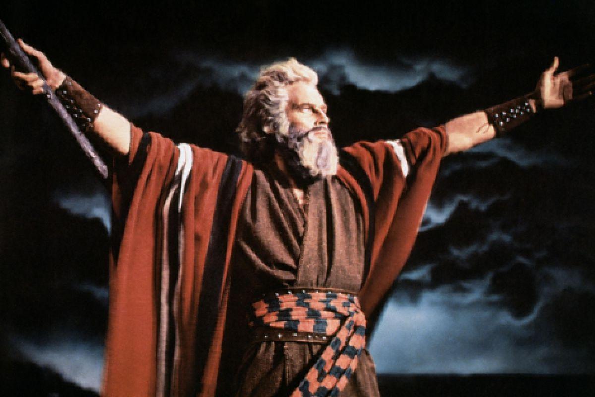"Charlton Heston stars as Moses in the 1956 epic film ""The Ten Commandments."""
