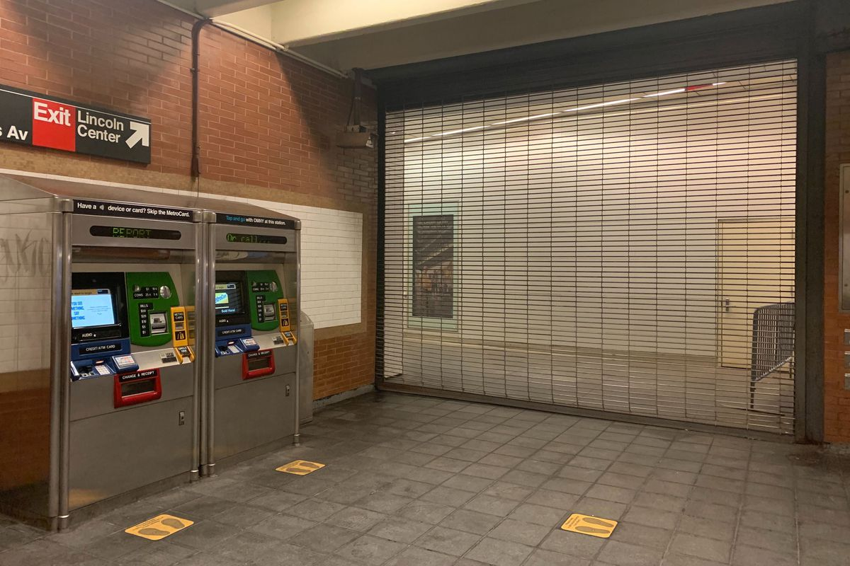 A privately maintained exit leading to Lincoln Center on the 1 line, Sept. 25, 2020.