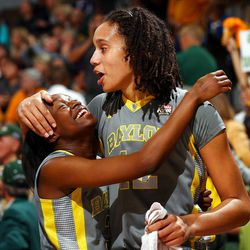 DENVER, CO - APRIL 03:  Brittney Griner #42 and Jordan Madden #3 of the Baylor Bears celebrate after they won 80-61 against the Notre Dame Fighting Irish during the National Final game of the 2012 NCAA Division I Women's Basketball Championship at Pepsi Center on April 3, 2012 in Denver, Colorado.  (Photo by Doug Pensinger/Getty Images)