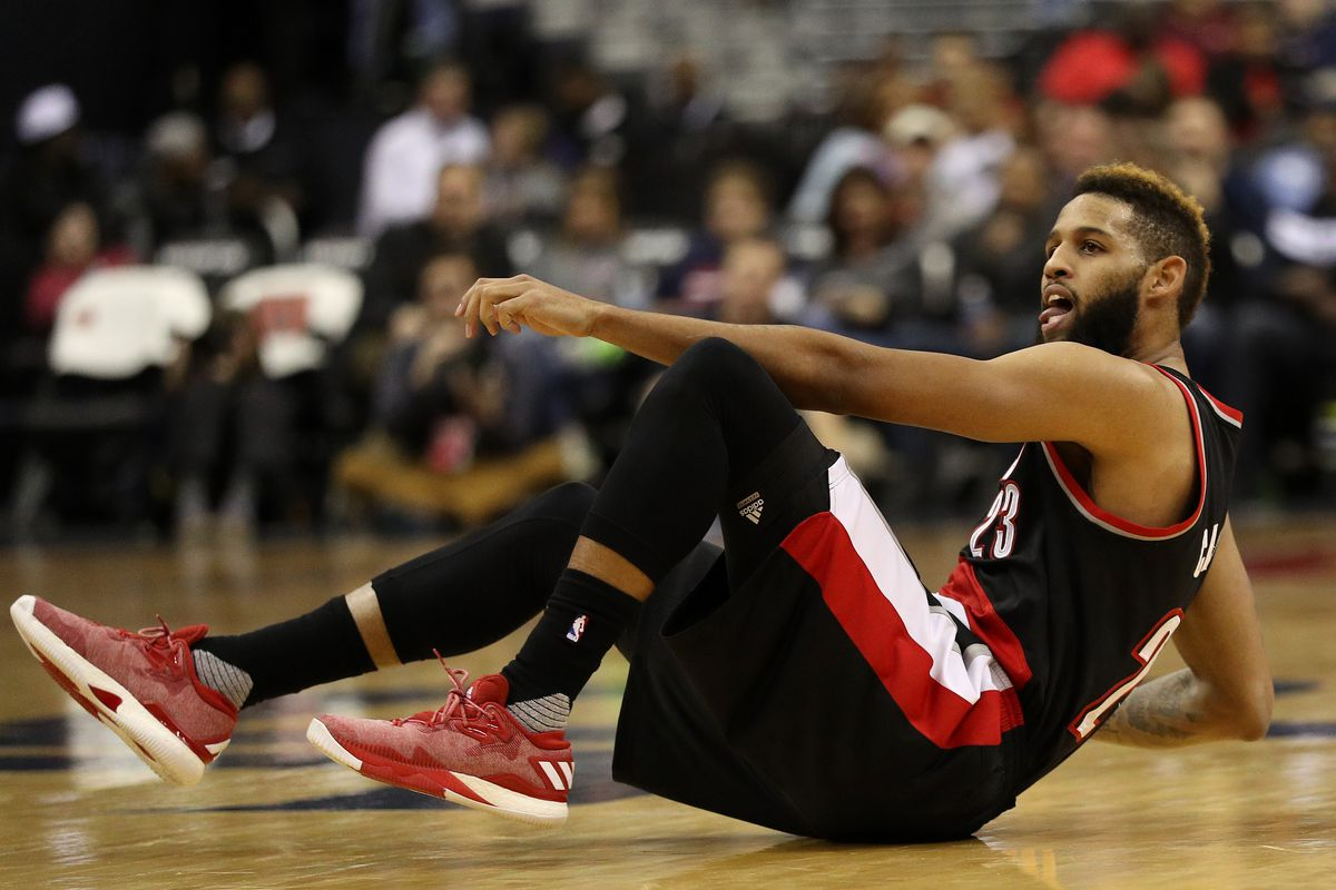 Allen Crabbe of the Portland Trail Blazers looks on after shooting against the Washington Wizards.