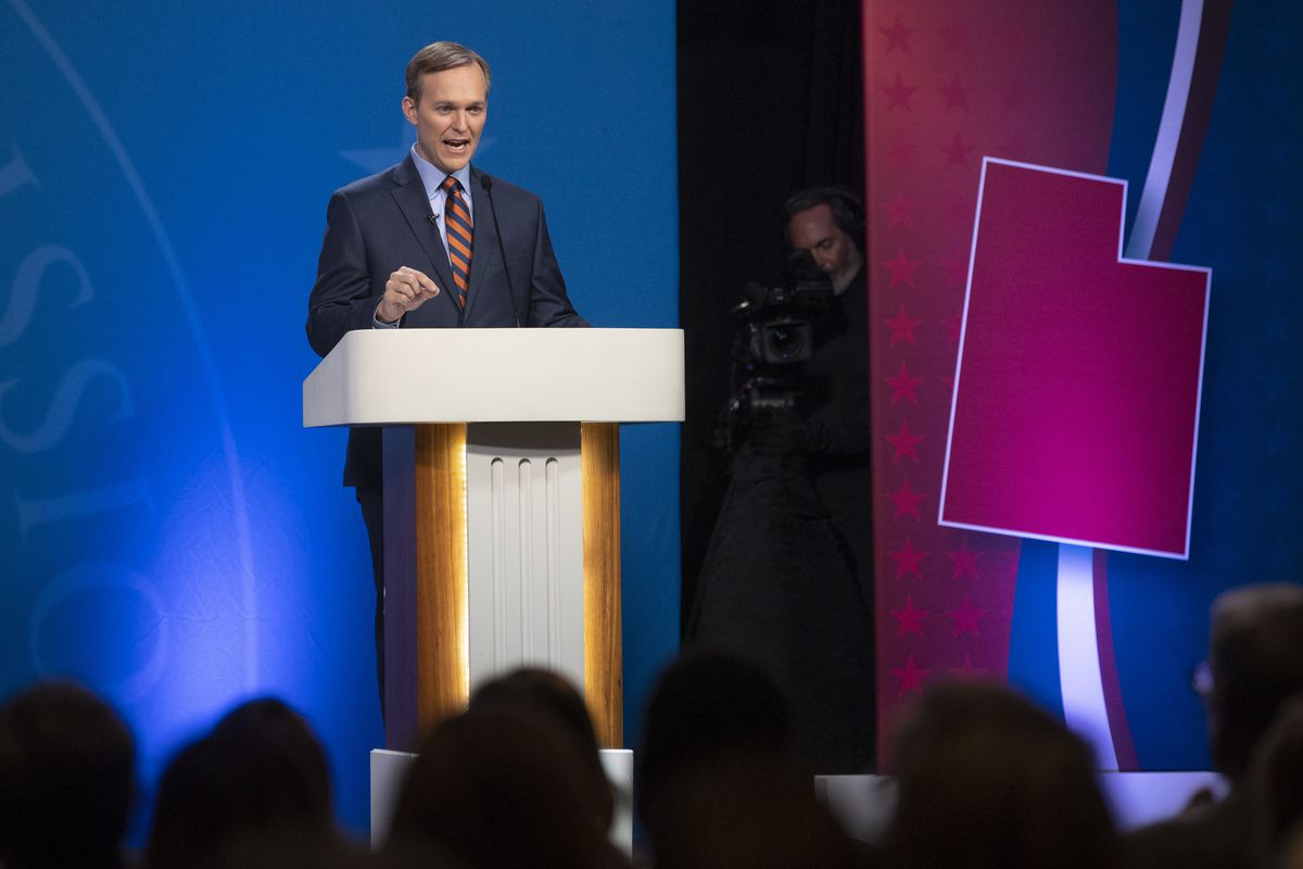 Salt Lake County mayor Ben McAdams answers a question as he and Congresswoman Mia Love take part in a debate at the Gail Miller Conference Center at Salt Lake Community College in Sandy as the two battle for Utah's 4th Congressional District on Monday, Oc