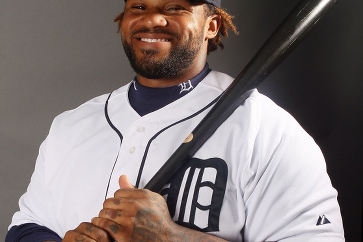 Prince Fielder of the Detroit Tigers poses for a portrait on February 28, 2012 at Joker Marchant Staduim in Lakeland, Florida.