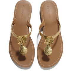 Pineapple sandals in gold, $30