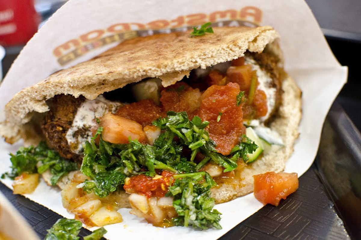 A pita full of falafel at Amsterdam Falafelshop