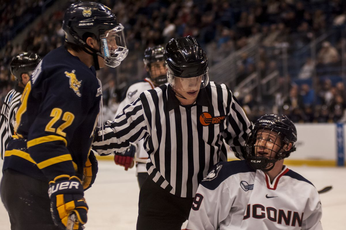 UConn's Evan Richardson earned a game misconduct for a dangerous cross check to the head.