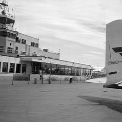 The Salt Lake International Airport's Administration Building is seen in this 1957 photo.