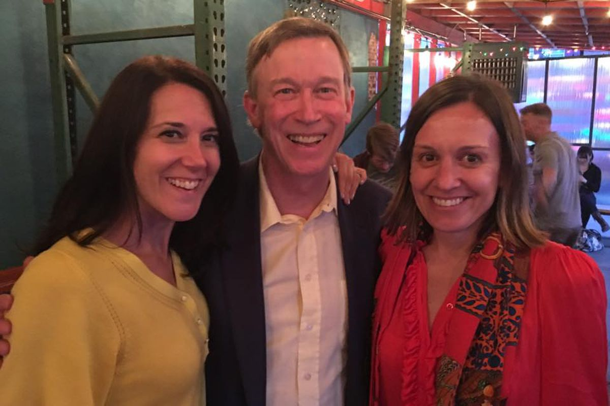 Governor Hickenlooper with wife Robin (right) and Jenna Stapleton (left)