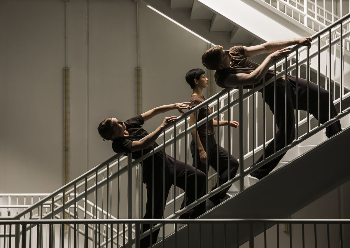 Hubbard Street Dance Chicago's Kellie Epperheimer (from left), Adrienne Lipson and Elliot Hammans will perform in Peter Chu's installation piece at the Harris Theater for Music and Dance, the opening program of the company's 40th anniversary season. | Tod