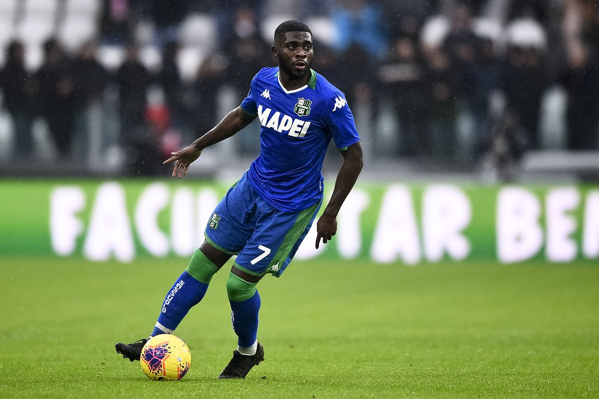 Jeremie Boga of US Sassuolo in action during the Serie A...