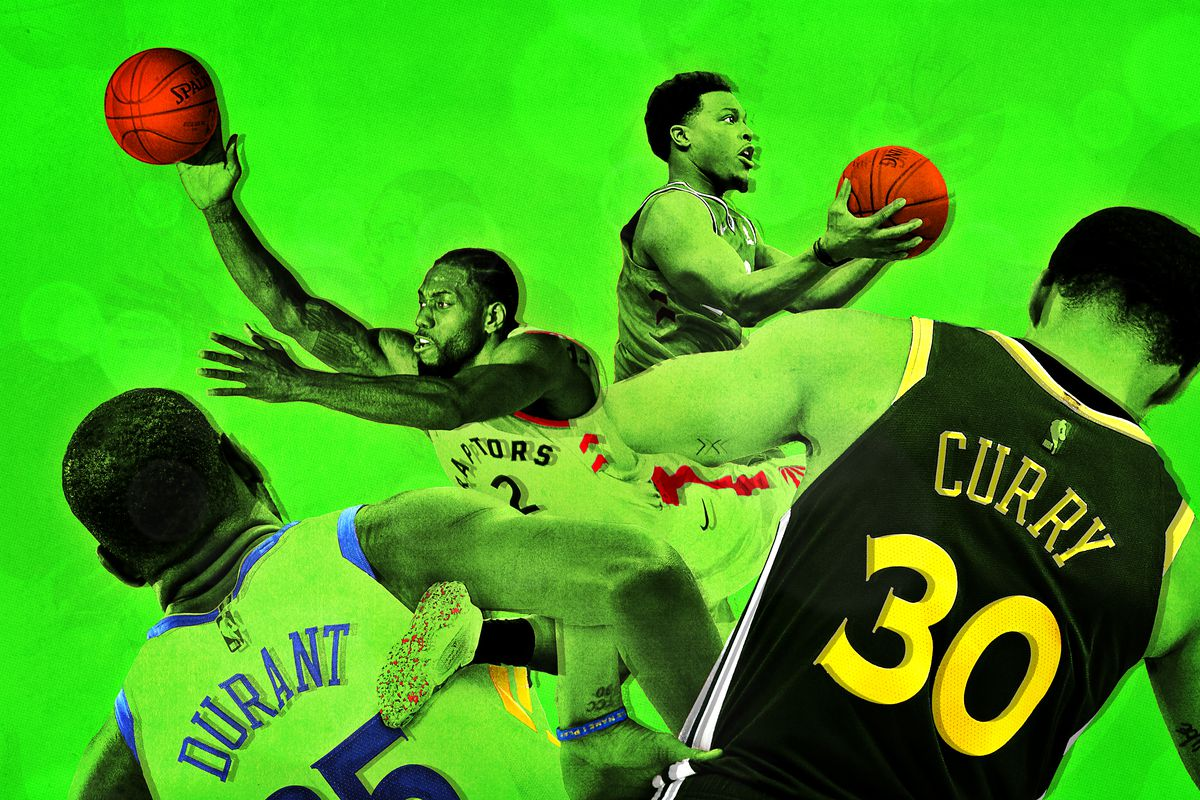 A photo illustration featuring Kawhi Leonard, Kevin Durant, Kyle Lowry, and Stephen Curry