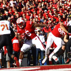 Corey Clement finds the endzone in the first half.