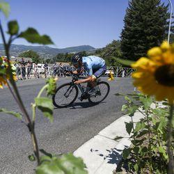 Team Bridgelane rider Hayden Mccormick makes a sharp corner on a descent during Stage 3 of the Tour of Utah in North Salt Lake on Thursday, Aug. 15, 2019.