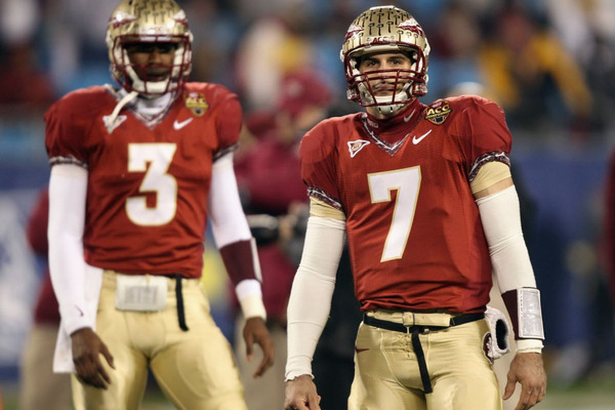 Past and Present. QB EJ Manuel will look to build on the momentum Seminole great Christian Ponder helped spark in the transition year of 2010. (Photo by Streeter Lecka/Getty Images)