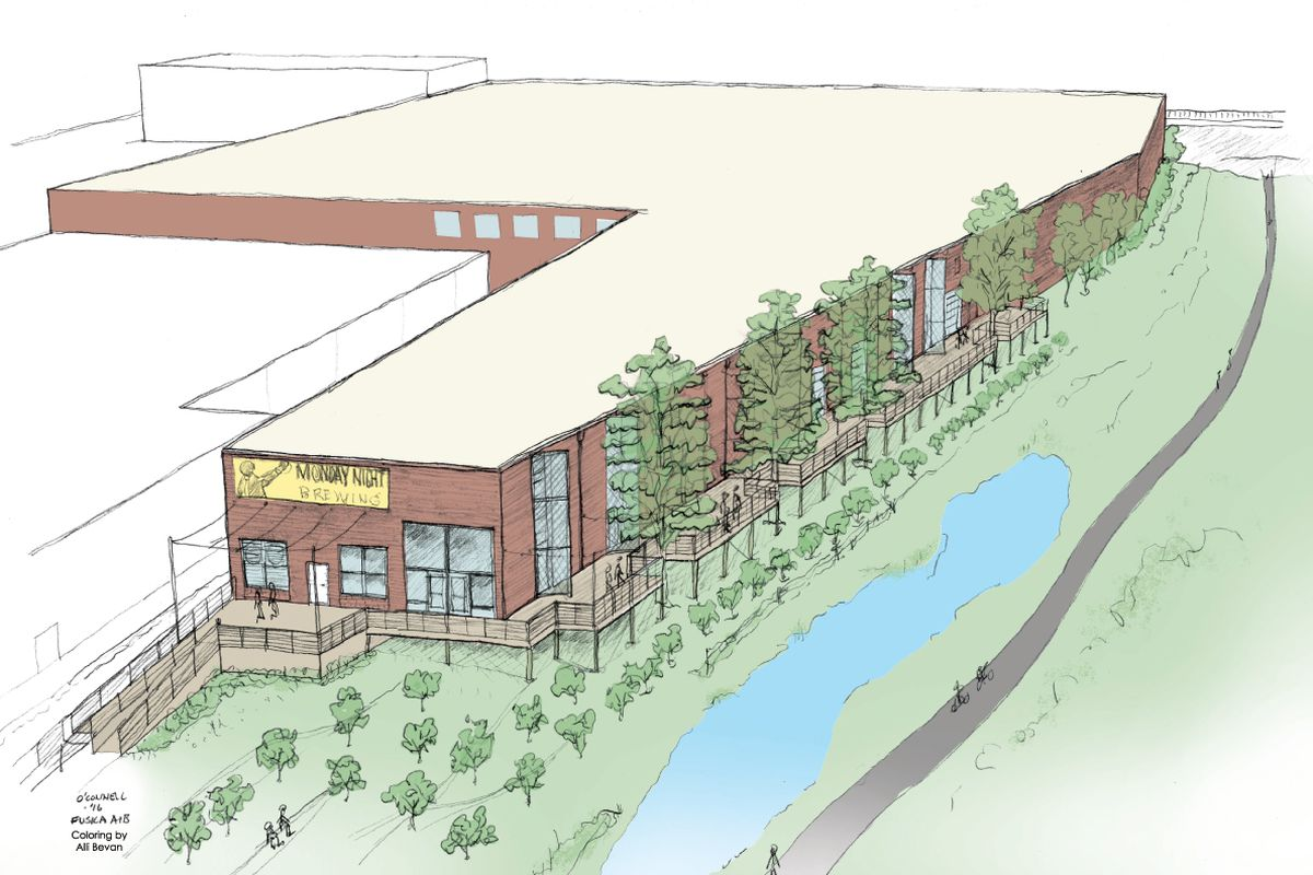 A rendering of Monday Night Brewing's forthcoming facility.