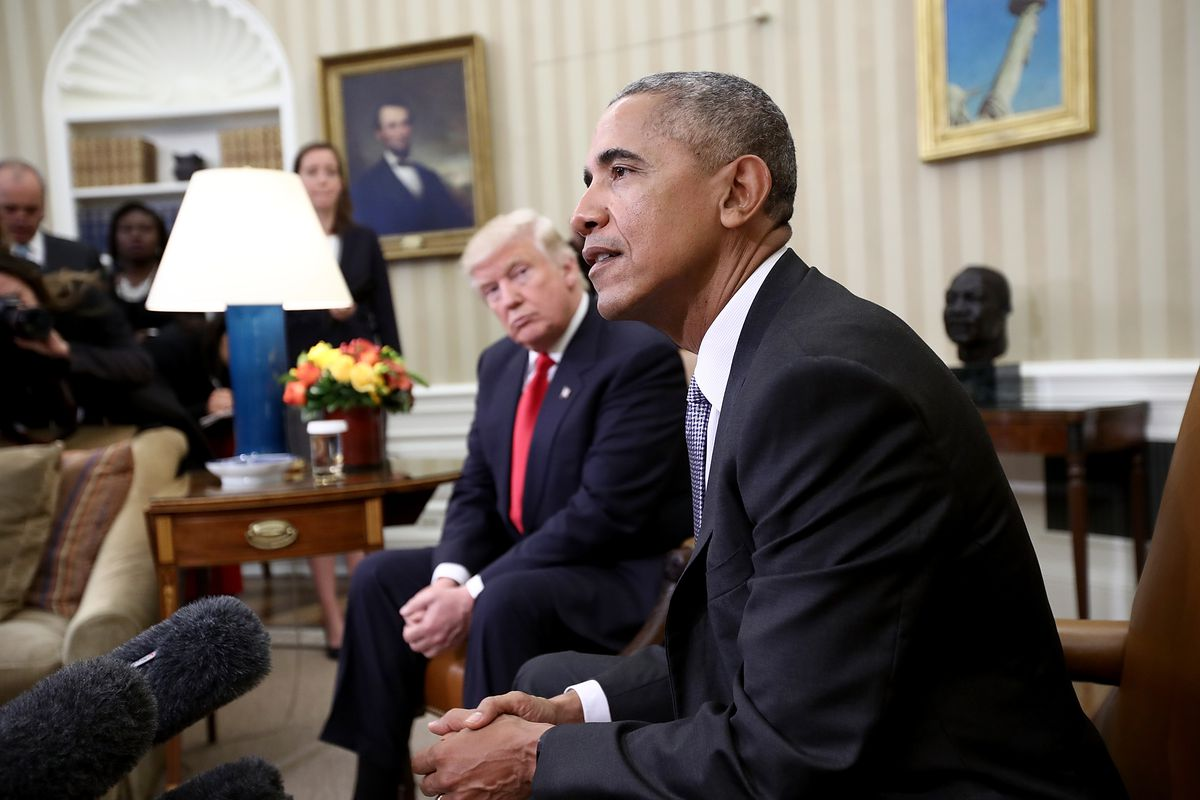 President Barack Obama meets with President-elect Donald Trump shortly after the 2016 election.