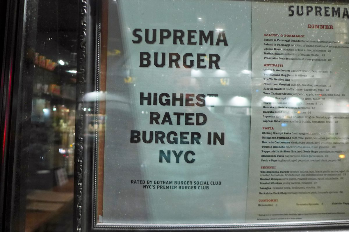 A note on the menu reads, Highest Rated Burger in NYC.