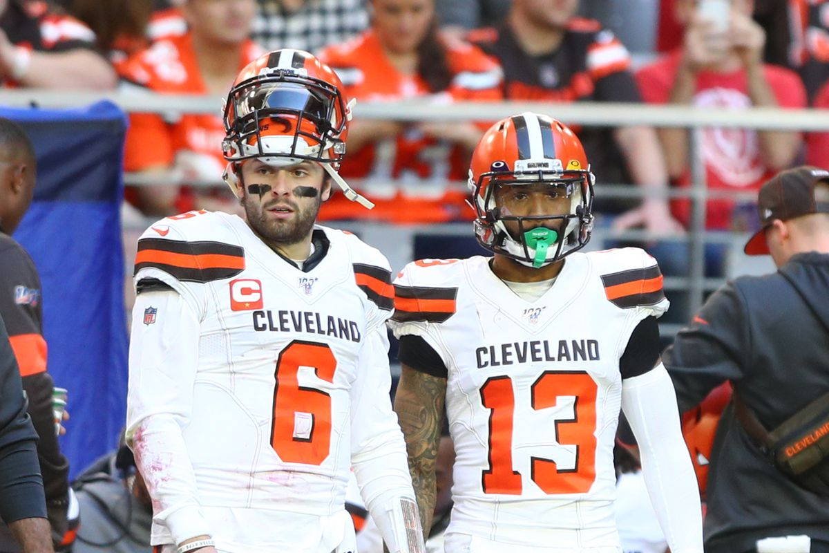 Cleveland Browns quarterback Baker Mayfield and wide receiver Odell Beckham Jr. in the first half against the Arizona Cardinals at State Farm Stadium.