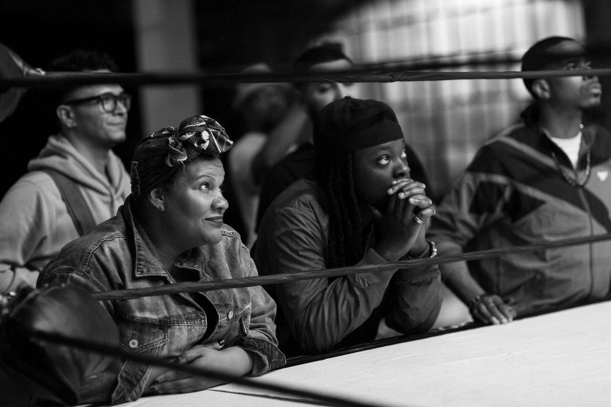 Radha Blank sits ringside at a rap battle in The Forty-Year-Old Version