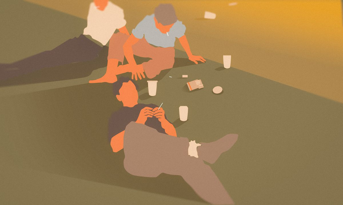 Illustration of three teen boys lounging on a green lawn, coffee cups and cigarettes strewn among them.