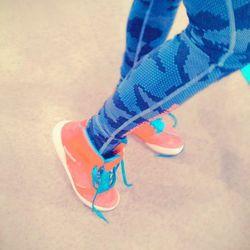 We had to snap a photo of Andrea's hot pink Reebok kicks and digi-camo leggings.