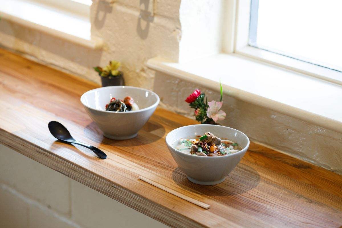Two bowls of udon on a wooden counter / windowsill at Koya Ko on Broadway Market.